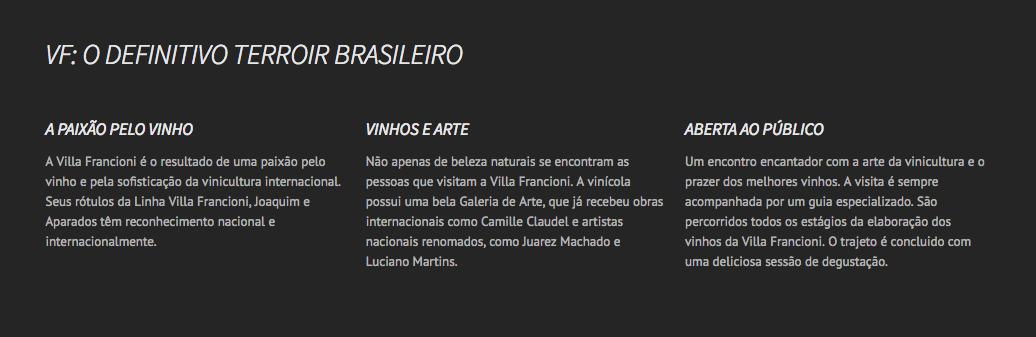 Vinícola VILLA FRANCIONI. São Joaquim, Santa Catarina