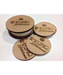 Descanso em madeira personalizada para copo + Cachipô